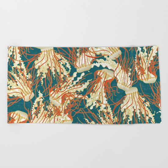 jellyfish blue Beach Towel