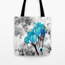 Turquoise FloWERS Pop of Color Tote Bag