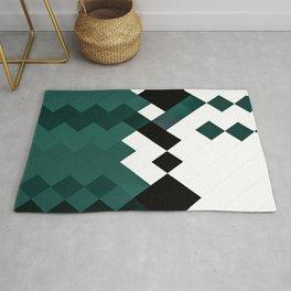 Emerald Green White Black Geometrical Pattern Rug