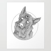 german shepherd Art Prints featuring German Shepherd  by Alvisino