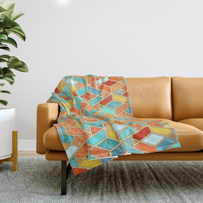 Tangerine & Turquoise Geometric Tile Pattern Throw Blanket
