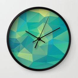 Polygon mosaic abstract triangles background in grue Wall Clock