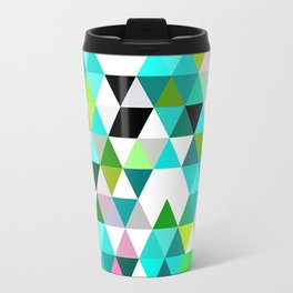 Chic Bright Pink Turquoise Lime Green Colors Funky Retro Triangles Mosaic Pattern Travel Mug
