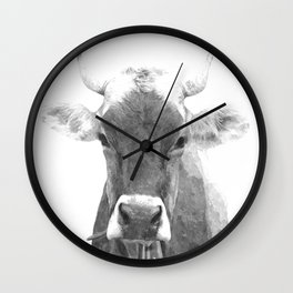 Cow black and white animal portrait Wall Clock