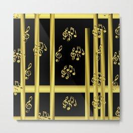 golden notes music symbol Metal Print