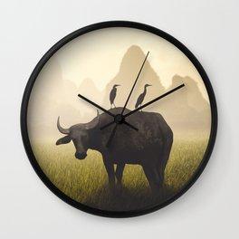 Water Buffalo And Egrets Wall Clock
