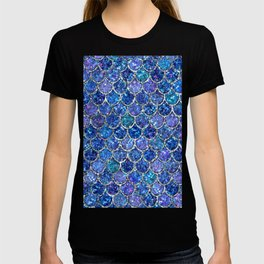 Sparkly Shades of Blue & Silver Glitter Mermaid Scales T-shirt