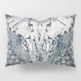 Elephant, India, Mandala, Teal, Green Pillow Sham