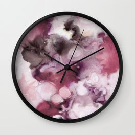 Organic Abstract in shades of plum Wall Clock