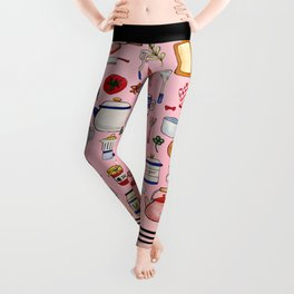 Watercolor Kitchen Utensils Leggings