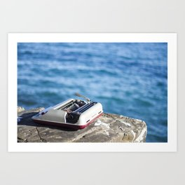 Writing on the sea Art Print