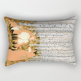 Fox family in the autumn forest Rectangular Pillow