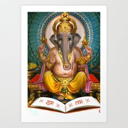 Lord Ganesha Hindu Oriental Art Spiritual Buddhism Yoga Art Print