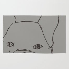 Sketched Frenchie (Grayscale) Rug