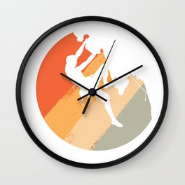 Rock Climbing Mountain Climber Vintage Color Wall Clock