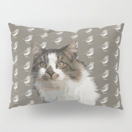 House longhaired cat and sparrows Pillow Sham