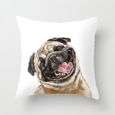 Happy Laughing Pug Throw Pillow