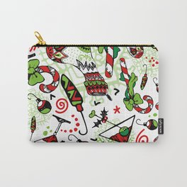 Christmas Candy Cane and Holiday Socks Carry-All Pouch