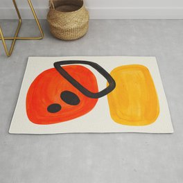 Colorful Mid Century Modern Abstract Fun Shapes Patterns Space Age Orange Yellow Orbit Bubbles Rug
