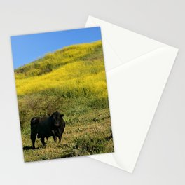 Bull In A Yellow Mustard Field. Stationery Cards