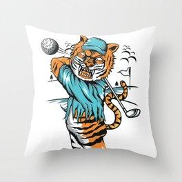 Tiger golfer WITH cap Throw Pillow