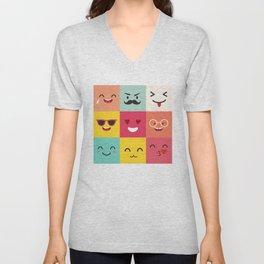 Emoticons vector pattern. Emoji square icons Unisex V-Neck