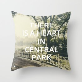 New York (There is a Heart in Central Park) Throw Pillow