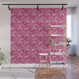 Art Nouveau Seaweed Floral, Deep Coral Pink Wall Mural