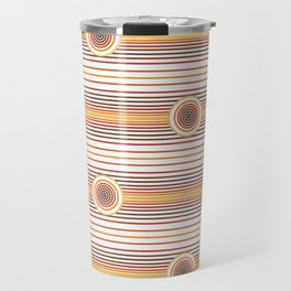 Concentric Circles and Stripes in Fall Colors Travel Mug