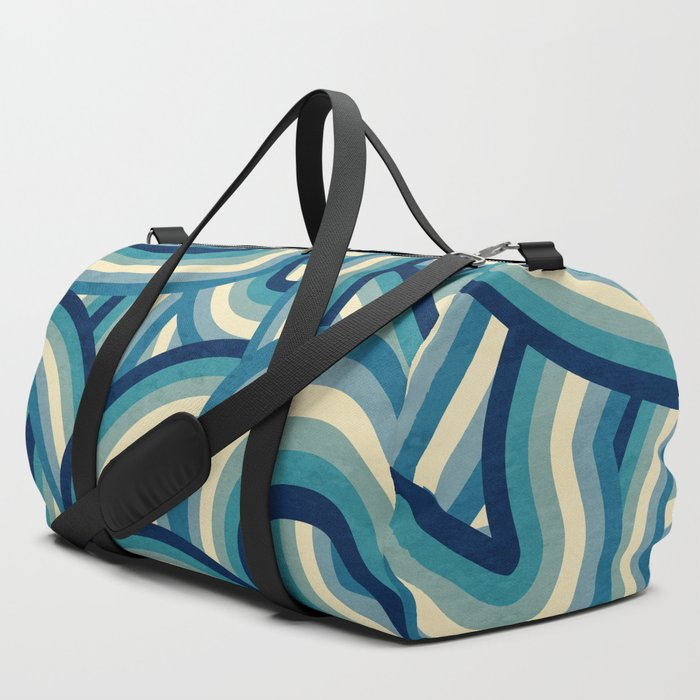 Vintage Faded 70's Style Blue Rainbow Stripes Duffle Bag
