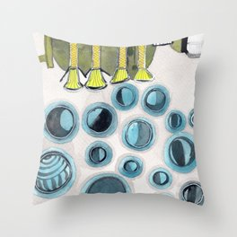 The Bubbles Production Machine Throw Pillow
