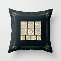 labyrinth Throw Pillows featuring Labyrinth by MacGuffin Designs