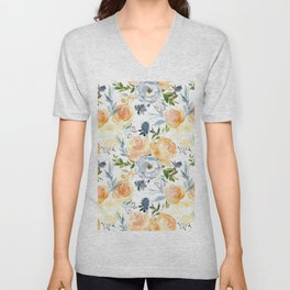 Blush gray orange watercolor hand painted floral Unisex V-Neck