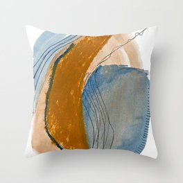 Gentle Breeze: a minimal, abstract mixed-media piece in blues and tans by Alyssa Hamilton Art Throw Pillow