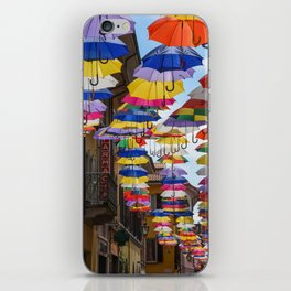 Colorful umbrella street in Italy iPhone Skin