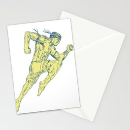 Muay Thai Fighter Kicking Side Drawing Stationery Cards