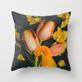 Spring Tulip Flowers Throw Pillow
