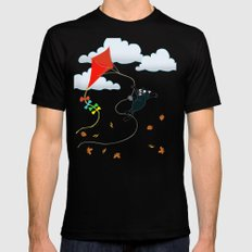 Cat on a Kite - Autumn Cat Black Mens Fitted Tee MEDIUM