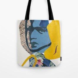 Abstract Collage Portrait of Girl Hawaiian Shirt Tote Bag