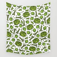 vegetables Wall Tapestries featuring Green Vegetables by Alisa Galitsyna