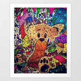 Candied Teddy Bear Art Print