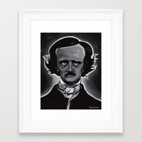 edgar allen poe Framed Art Prints featuring Edgar by Paul Brogden