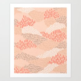 Dashes and dots in blush pink // abstract pattern Art Print