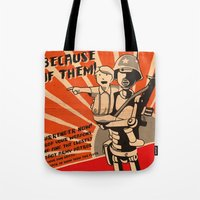 propaganda Tote Bags featuring Propaganda Series by Alex.Raveland...robot.design.digital.art