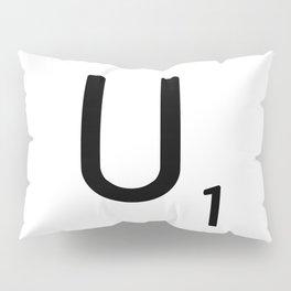Letter U - Custom Scrabble Letter Tile Art - Scrabble U Initial Pillow Sham