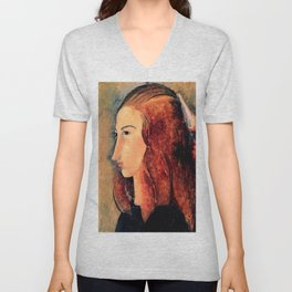 "Amedeo Modigliani ""Portrait of a young woman (Profile of Jeanne Hebuterne)"" Unisex V-Neck"