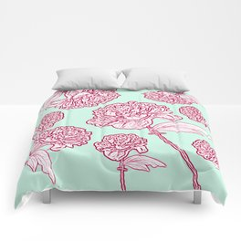 Barbed Wire Peony Floral in Coral Pink & Aqua Comforters