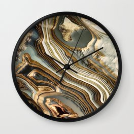 White Gold Agate Abstract Wall Clock