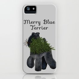 Merry Blue Terrier (Gray Background) iPhone Case
