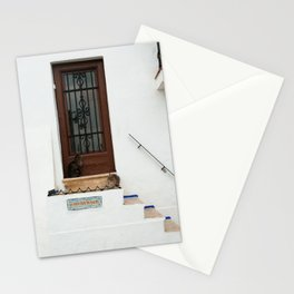 Two cats on White Stairs Stationery Cards